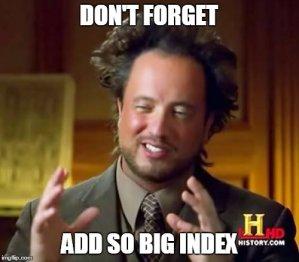 Přidání indexu