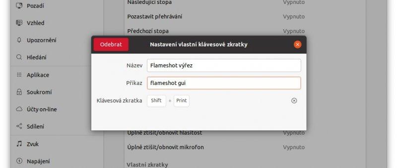 Flameshot - Klávesové zkratky v Ubuntu