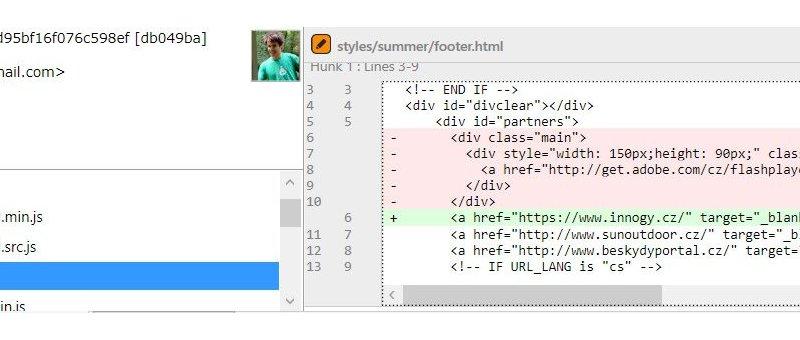 Ukázka zobrazení commitu v SourceTree