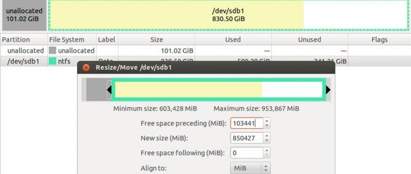 GParted - výběr disku a změna velikosti oddílu