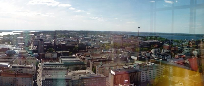 Panorama of Tampere from sky bar of Sokos hotel