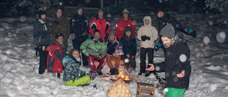 Outside bonfire with most of friends