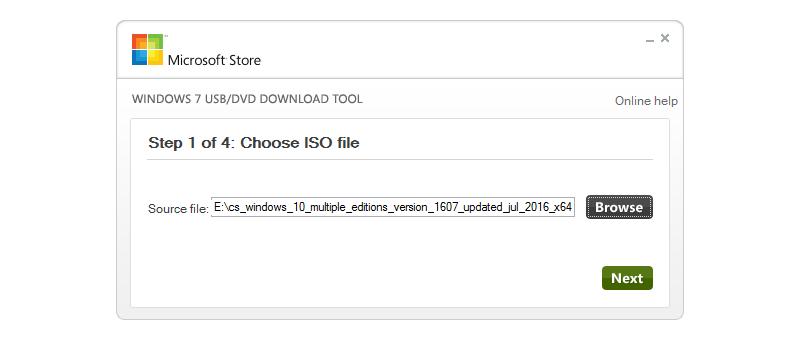 Výběr ISO souboru - krok 1/4