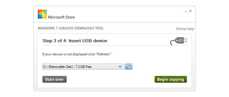Výběr USB disku - krok 3/4