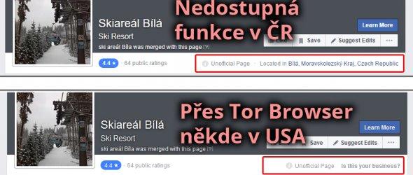 Stránka v ČR vs v USA přes Tor Browser