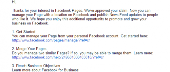 Reply from Facebook