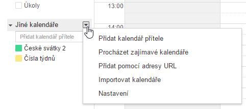 Kontextové menu - Google Kalendář
