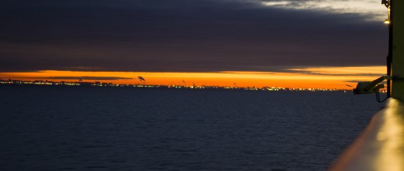 Morning on ferry in St. Petersburg