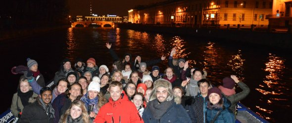Night cruise on river and canals