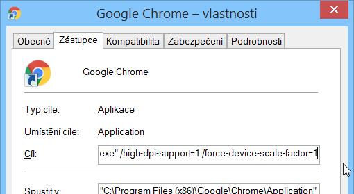 Vlastnosti zástupce Chrome