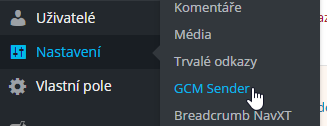 Registrace nastavení do menu